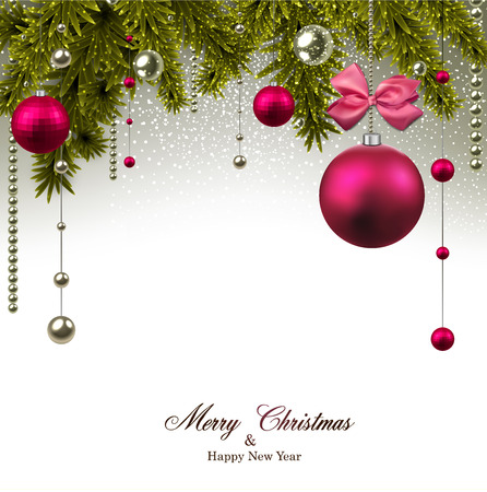Kerst achtergrond met dennen takken en magenta ballen. Vector illustratie. Stock Illustratie