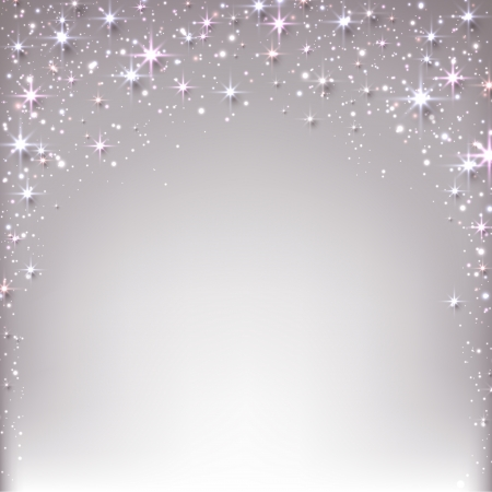 twinkles: Silver christmas abstract texture background. Holiday illustration with stars and sparkles. Vector.