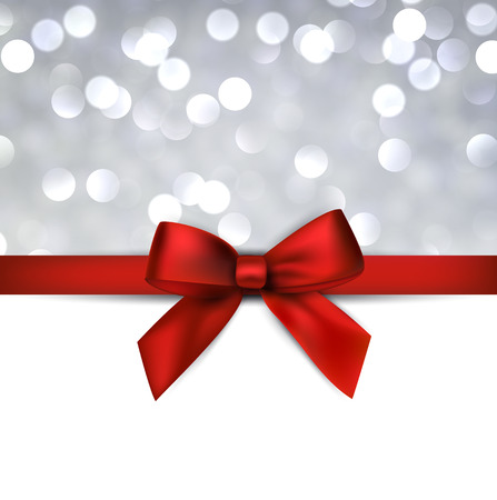 christmas bow: Christmas grey defocused background with red bow. Vector eps10.