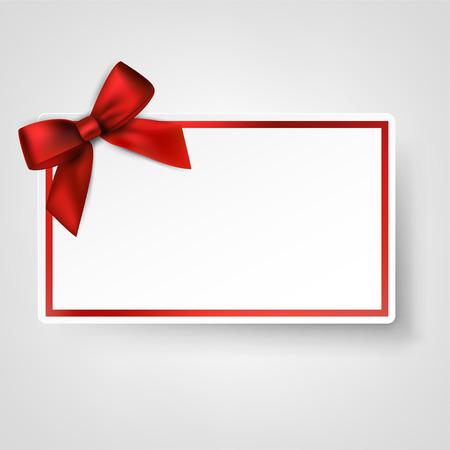 리본과 새틴 빨간색 나비 선물 카드입니다. 벡터 일러스트 레이 션.
