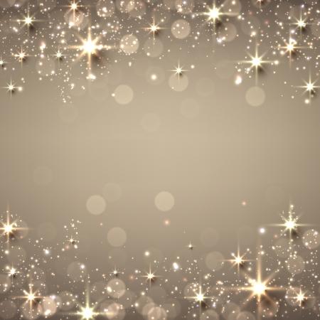 ゴールデン クリスマス抽象的なテクスチャ背景。星と輝き休日イラスト。ベクトル。