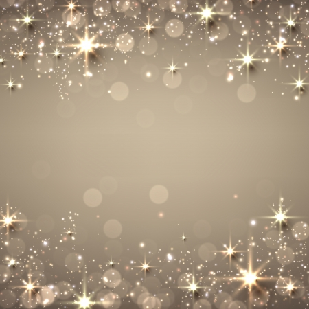 Golden christmas abstract texture background. Holiday illustration with stars and sparkles. Vector.