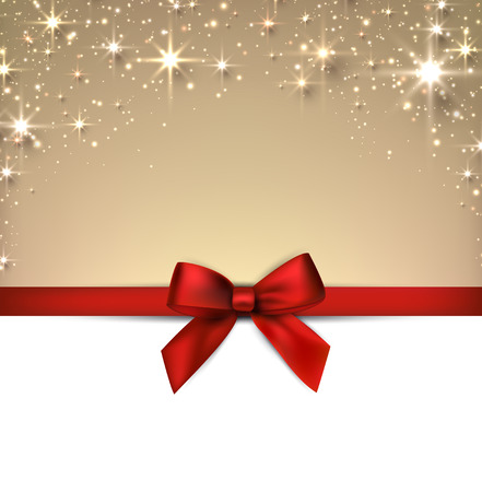 blink: Golden christmas abstract background with red gift bow. Holiday illustration with stars and sparkles. Vector.