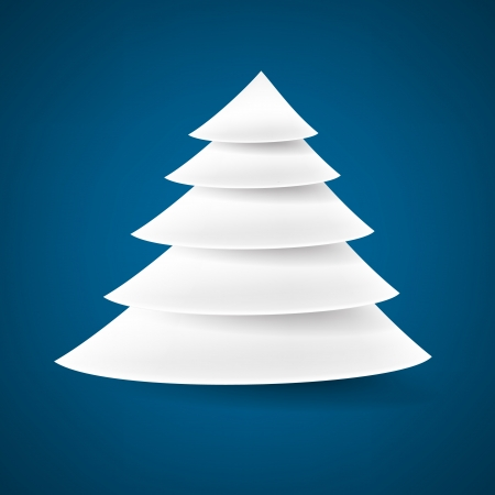 snippet: White paper christmas tree over blue background. Vector illustration.