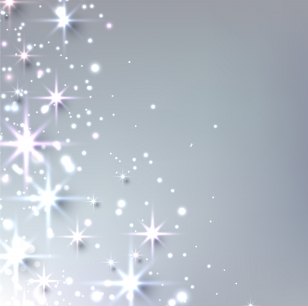 silver stars: Silver christmas abstract texture background. Holiday illustration with stars and sparkles. Vector.