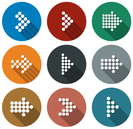 Vector illustration of plain round arrow icons.   Vector