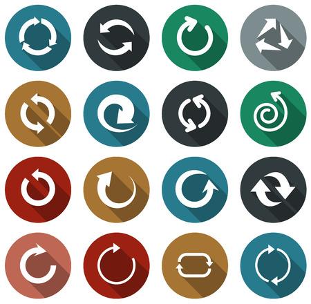 Vector illustration of plain rotate round arrow icons. Flat design.