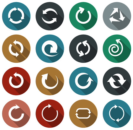 Vector illustration of plain rotate round arrow icons. Flat design.  Vector