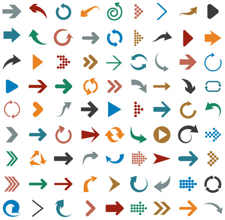 Vector illustration of plain arrow icons. Flat design.  Vector
