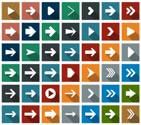 Vector illustration of plain square arrow icons. Flat design.  Vector