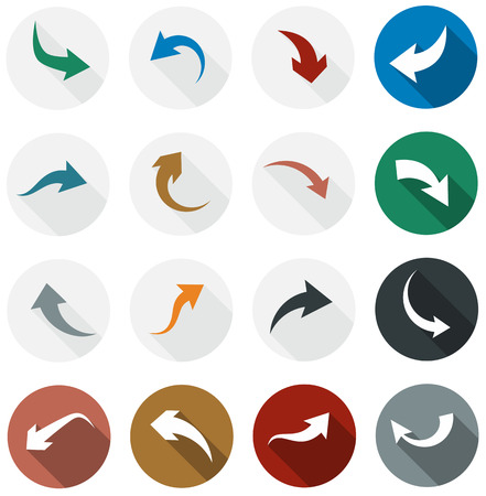 arrowheads: Vector illustration of plain round arrow icons. Flat design.