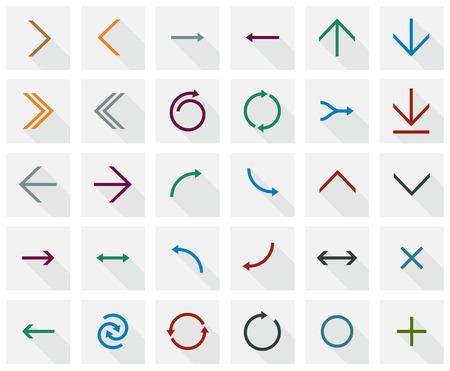 Ilustración vectorial de simples iconos de flecha cuadrados. Diseño plano. Foto de archivo - 23656371