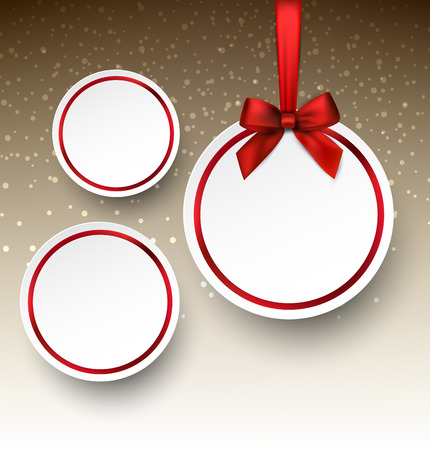 Holiday paper round labels. Christmas balls. Vector illustration.  Vector