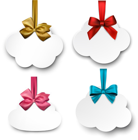 Holiday cloud gift cards with color ribbons and satin bows. Vector illustration.  Illustration