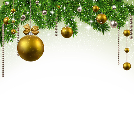 Christmas background with fir twigs and golden balls. Vector illustration.  Çizim