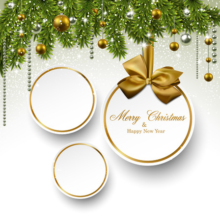Holiday paper round labels. Christmas balls over starry background with fir branches. Vector illustration. Stock fotó - 23777584