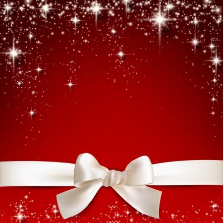 빨간 별이 빛나는 크리스마스 배경 위에 활 선물 흰색 리본. 벡터 일러스트 레이 션.