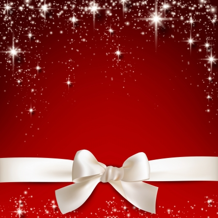 winter background: Gift white ribbon with bow over red starry christmas background. Vector illustration.