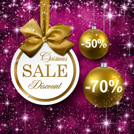 purple and gold: Paper sale golden christmas balls over purple winter abstract background. Vector illustration with snowflakes and sparkles.