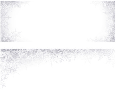 Winter banners with crystallic snowflakes. Christmas background. Vector.  Vector