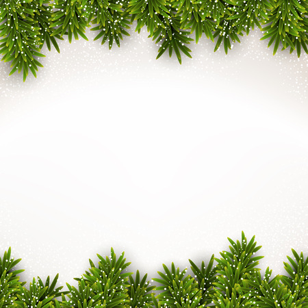firs: Detailed frame with fir. Christmas background. Vector illustration.