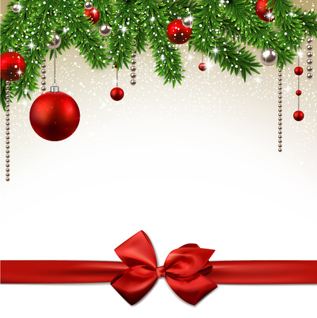 red ribbon: Christmas background with fir twigs and red balls. Vector illustration.