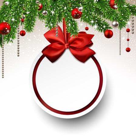 Holiday achtergrond met dennen takken en papier kerst bal. Vector illustratie.