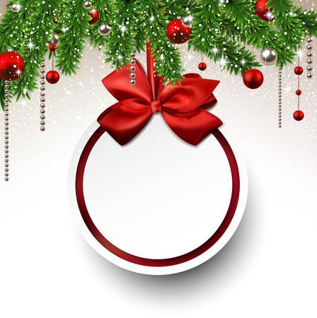 holiday: Holiday background with fir twigs and paper christmas ball. Vector illustration.