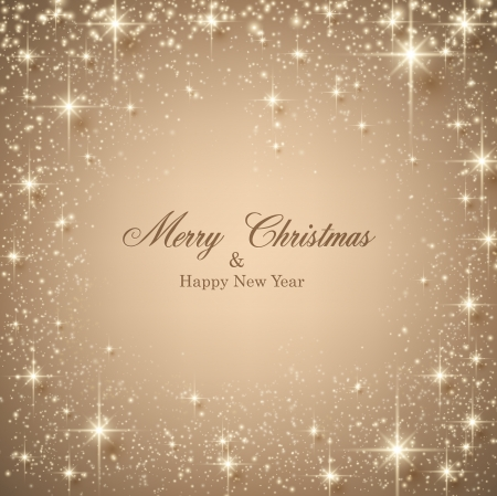 Beige christmas abstract frame. Holiday background with golden stars and sparkles. Vector.