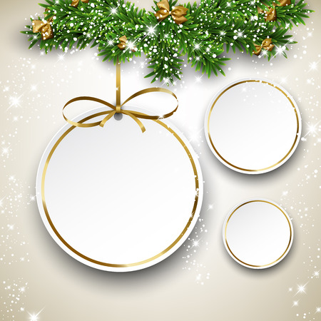 christmas sale: Paper christmas balls with golden ribbon. Round labels over starry background with fir branches. Vector illustration.  Illustration