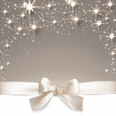 blink: Beige christmas abstract background. Holiday illustration with stars and sparkles. Vector.