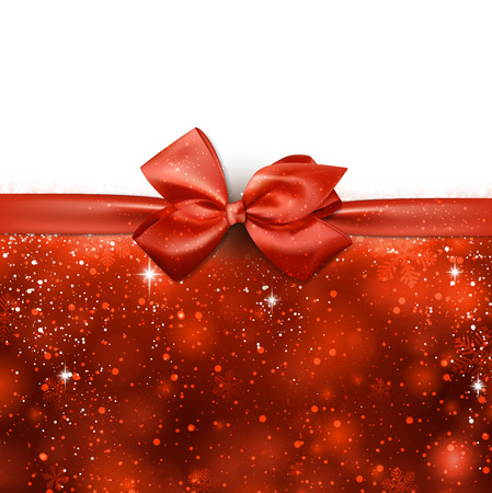 Red winter abstract background. Christmas background with ribbon and bow. Vector.  Vector
