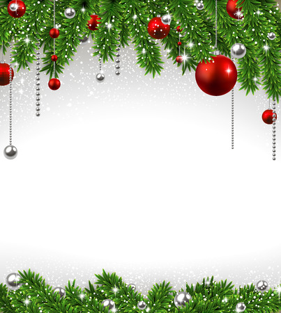 fir: Christmas background with fir twigs and red balls. Vector illustration.