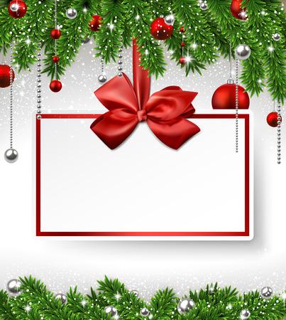 Holiday achtergrond met dennen takken en papier uitnodigingskaart. Vector illustratie. Stock Illustratie