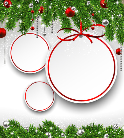 Holiday background with fir twigs and paper christmas balls. Vector illustration.  Vector