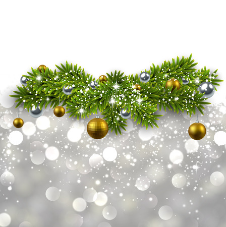 Silver abstract texture with fir twigs and golden balls. Vector background.  Vector