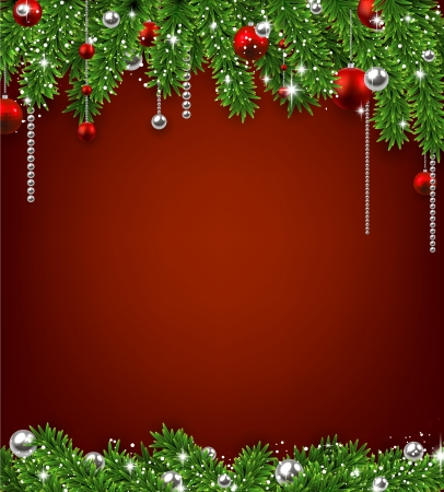 Christmas red background with fir twigs and balls. Vector illustration.  Vector
