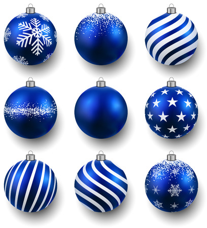 christmas ball: Blue christmas balls on white surface. Set of isolated realistic decorations. Vector illustration.