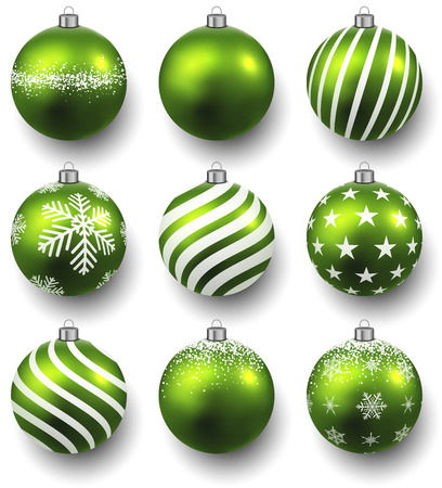 christmas  ornament: Green christmas balls on white surface. Set of isolated realistic decorations. Vector illustration.
