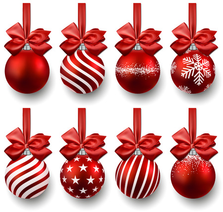 christmas ornaments:  Red christmas balls on gift bows. Set of isolated realistic decorations. Vector illustration.