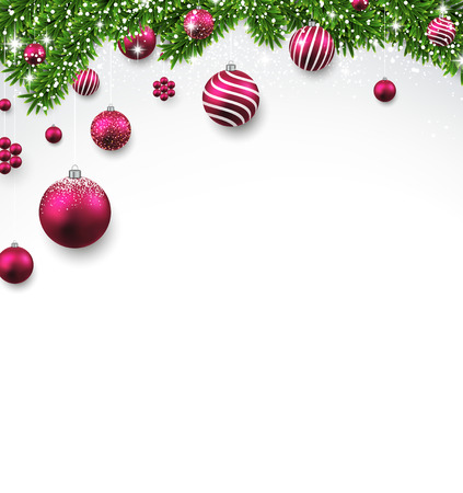 snow ball: Christmas background with fir twigs and magenta balls. Vector illustration.
