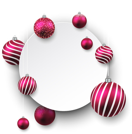 Christmas gift card with magenta decorative balls. Vector illustration.