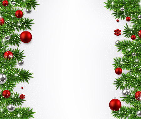 Kerst achtergrond met dennen takken en rode ballen.