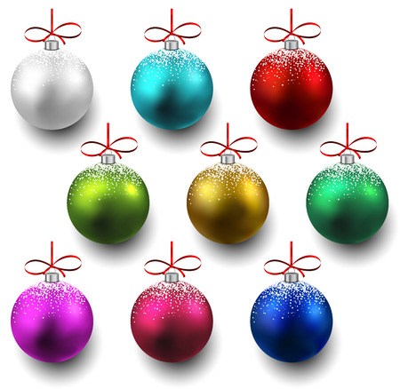 Colorful christmas balls with sparkles. Set of isolated realistic decorations. illustration.  Vector