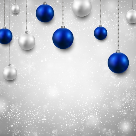 Winter grey with silver and blue christmas balls. Stock Vector - 24168338