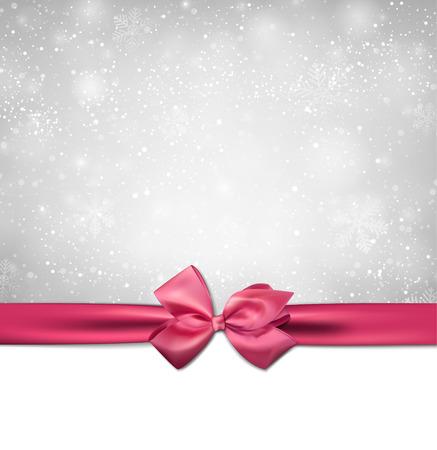 moño rosa: De fondo de invierno con copos de nieve crystallic con rosa arco de regalo. La decoración de Navidad. Vector. Vectores