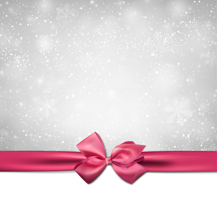 Winter background with crystallic snowflakes with pink gift bow. Christmas decoration. Vector.