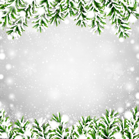 pine needle: Detailed frame with fir. Christmasillustration.