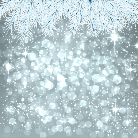 winter wallpaper: Silver winter abstract background. Christmas illustration with snowflakes and sparkles. White fir needles. Vector.   Illustration