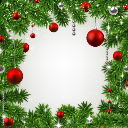 Christmas frame background with fir twigs and red balls. Vector illustration.  Vector